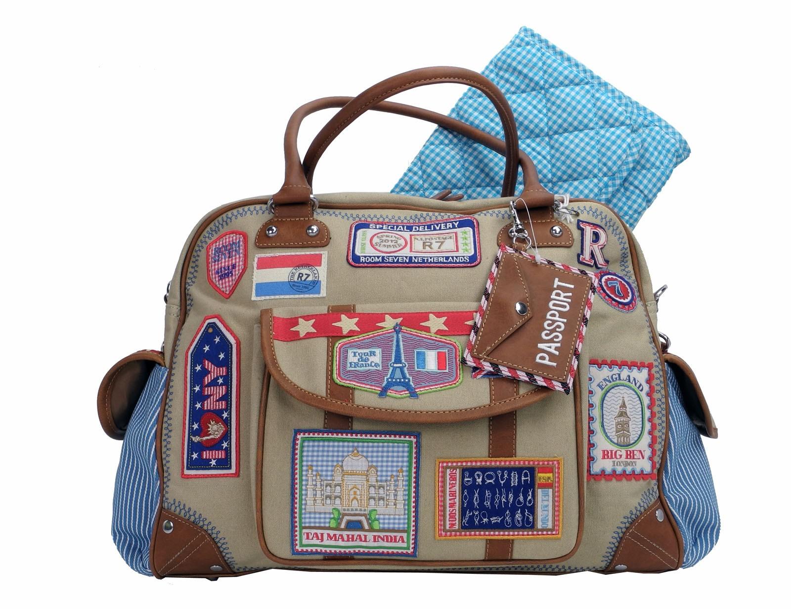room seven wickeltasche bages diaperbag s127201 sand blau jungen ebay. Black Bedroom Furniture Sets. Home Design Ideas