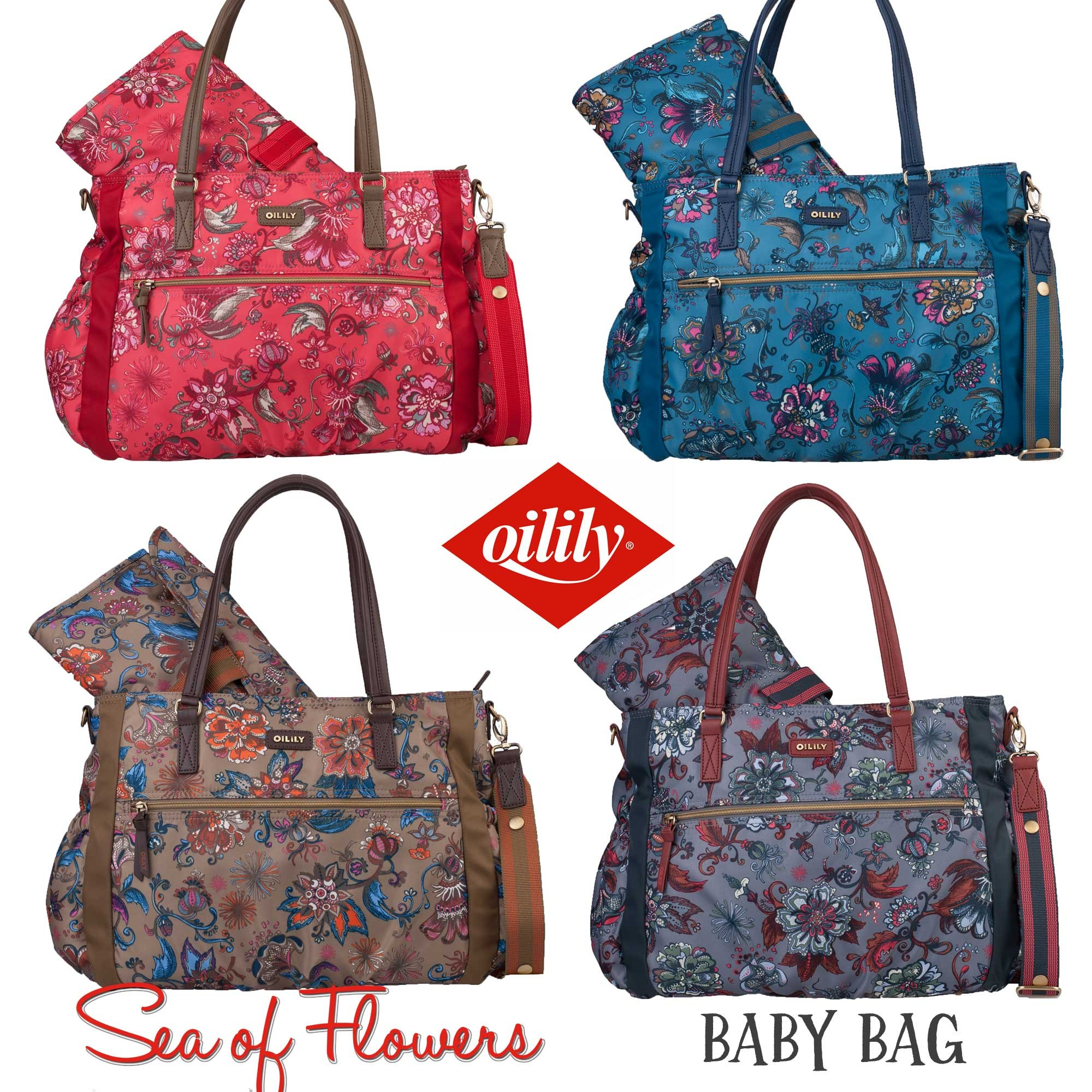oilily wickeltasche baby bag sea of flowers alle farben. Black Bedroom Furniture Sets. Home Design Ideas