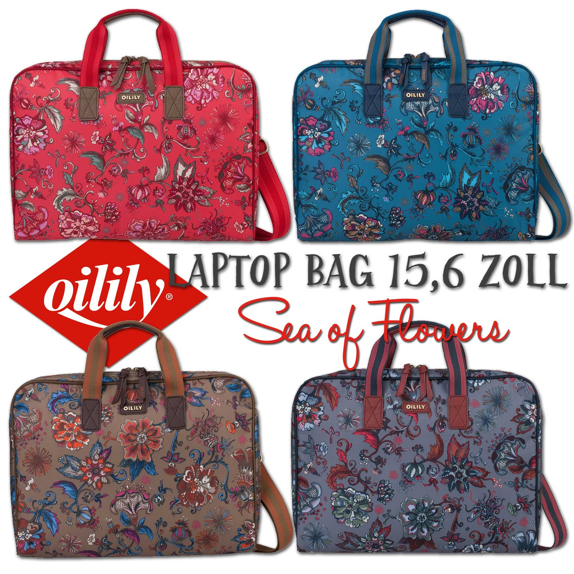 oilily laptoptasche laptop bag 15 6 zoll sea of flowers. Black Bedroom Furniture Sets. Home Design Ideas