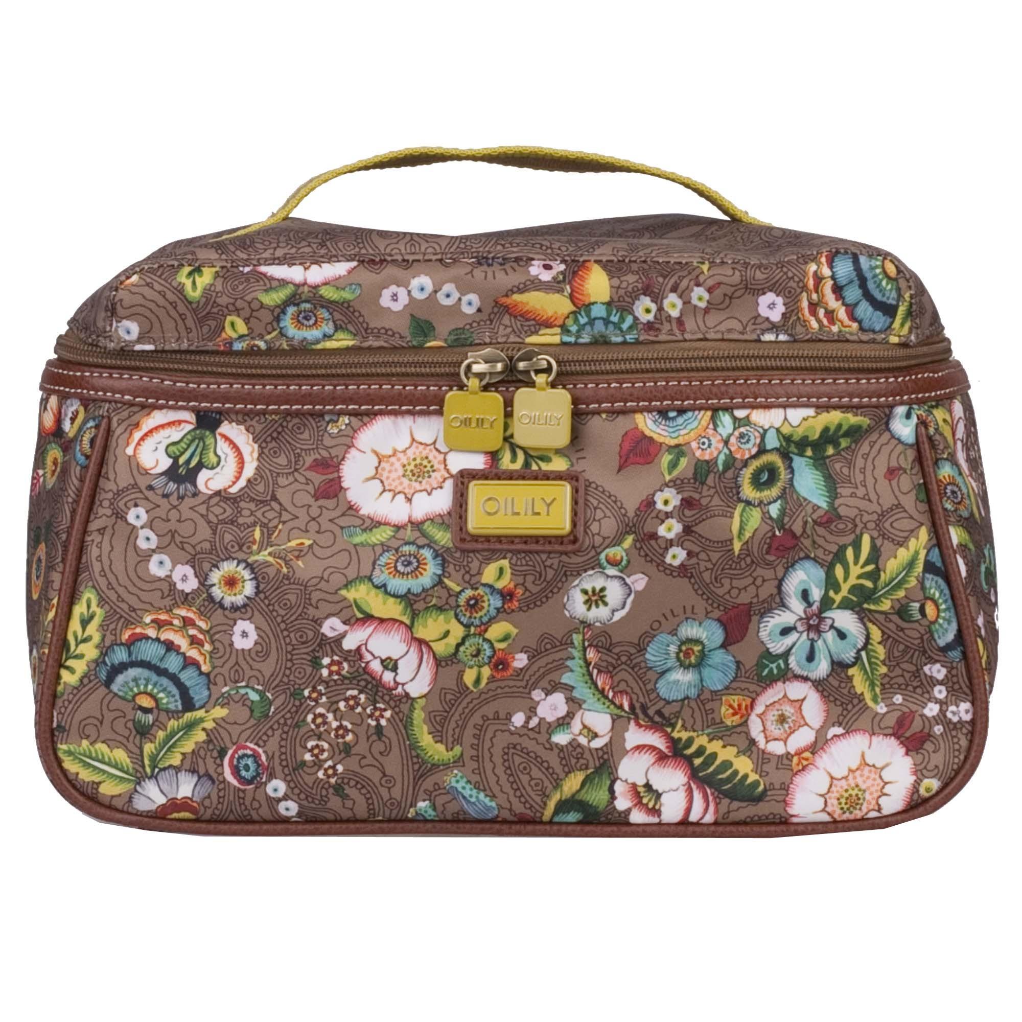 oilily french flowers kosmetiktasche l beauty case in pink grey oder tobacco ebay. Black Bedroom Furniture Sets. Home Design Ideas