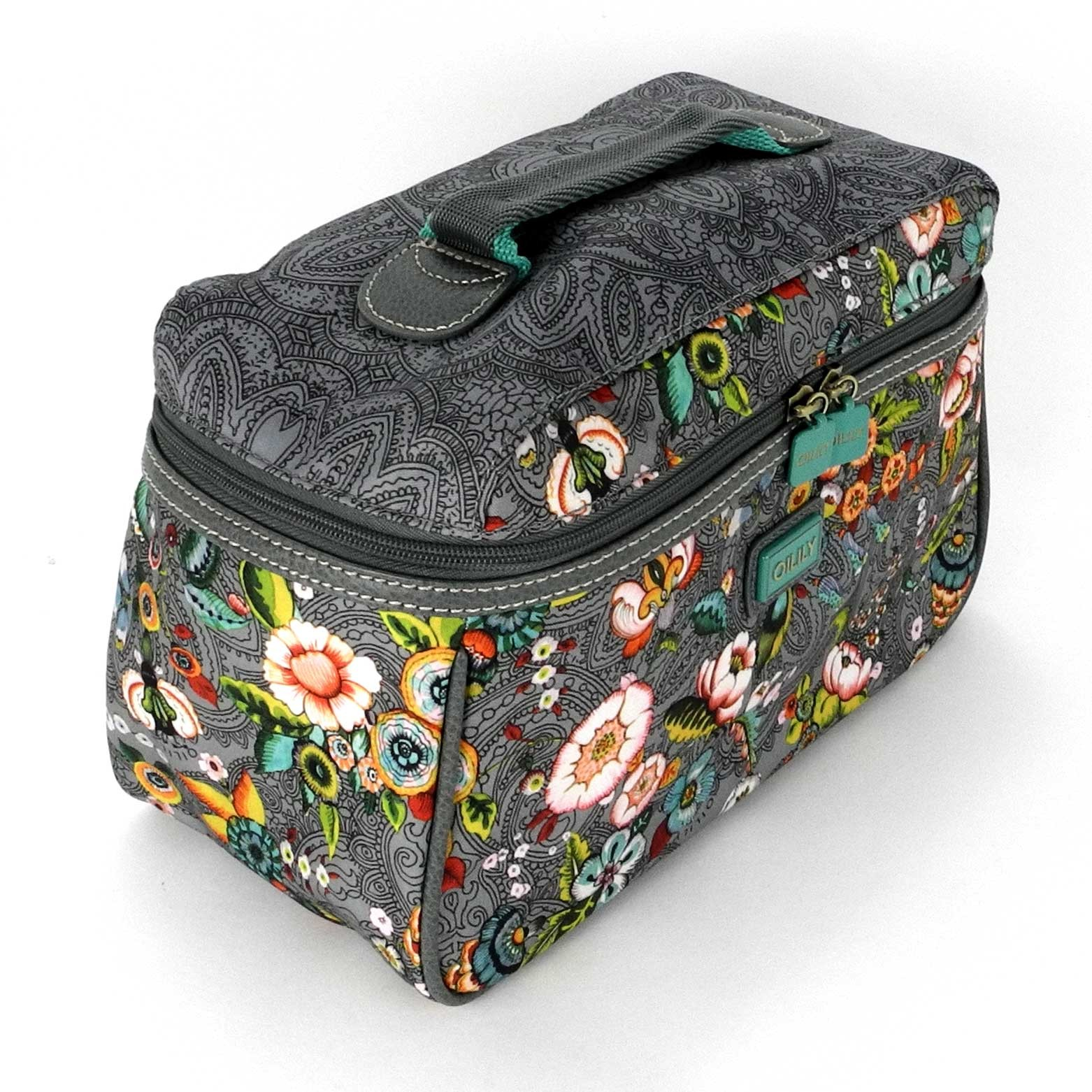 oilily french flowers kosmetiktasche l beauty case in pink grey oder tobacco ebay. Black Bedroom Furniture Sets. Home Design Ideas