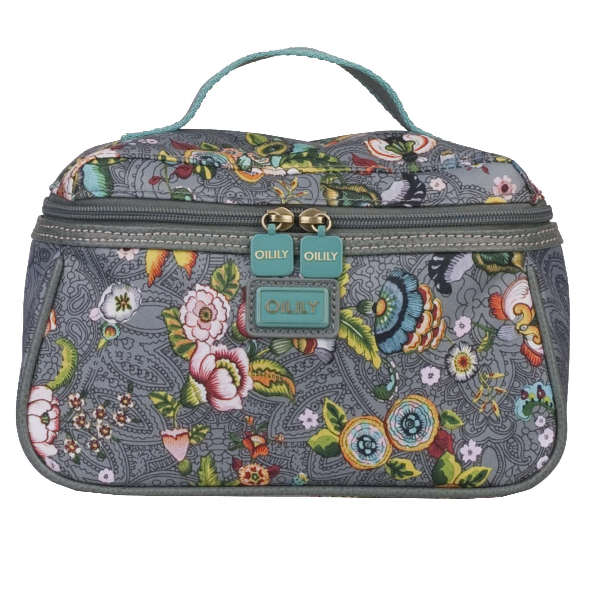 oilily french flowers kosmetiktasche m beauty case in pink grey oder tobacco ebay. Black Bedroom Furniture Sets. Home Design Ideas
